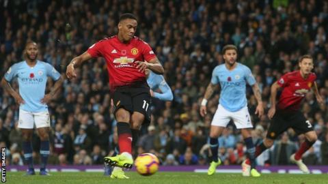 Anthony Martial scores a penalty against Manchester City