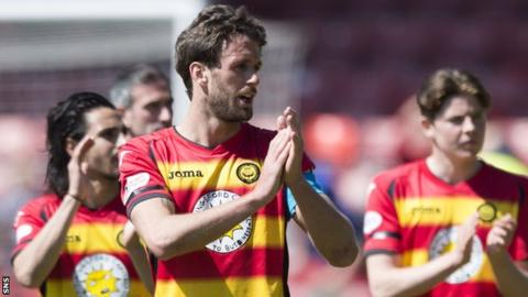 Danny Seaborne applauds the Partick Thistle fans