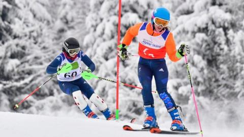Menna Fitzpatrick (left) and guide Jen Kehoe are the first British skiers to win both Paralympic and world titles