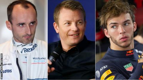 Robert Kubica, Kimi Raikkonen and Pierre Gasly