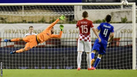 Keeper Salvatore Sirigu in action for Italy in a Euro 2016 qualifier against Croatia