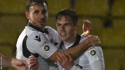 Eastleigh celebrate Sam Matthews' second goal at Torquay