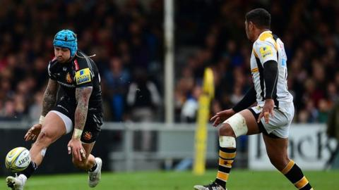 England winger Jack Nowell scored his first try for Exeter since also scoring in the Chiefs;' win over Wasps at the Ricoh Arena in December