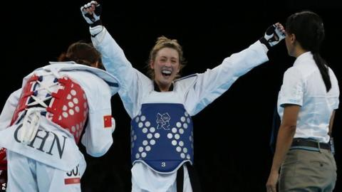 Jade Jones beat China's Yuzhuo Hou in the women's -57kg division to win Olympic gold at London 2012