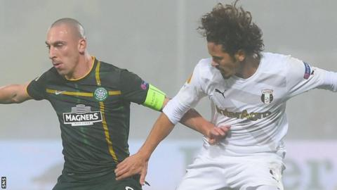 Celtic's Scott Brown and Astra's George Florescu