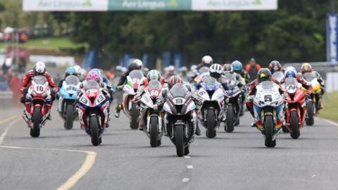Mass start racing is a feature of the Ulster Grand Prix road race meeting
