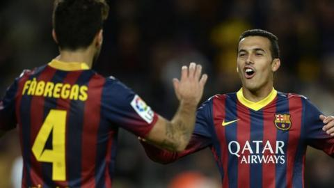 Pedro and Cesc Fabregas played together at Barcelona between 2011 and 2014.