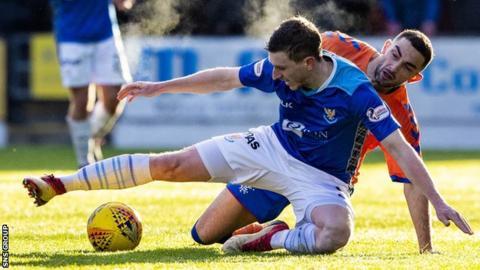 Blair Alston shields the ball from Rangers winger Eros Grezda