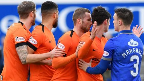 Queen of the South's Jordan Marshall keeps a watch on Dundee United's Frederic Frans, Rachid Bouhenna, Pavol Safrenko and Ian Harkes