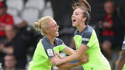 Caroline Weir (right) celebrates her winner for Liverpool against Arsneal