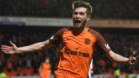Sam Stanton celebrates after scoring for Dundee United against Dunfermline