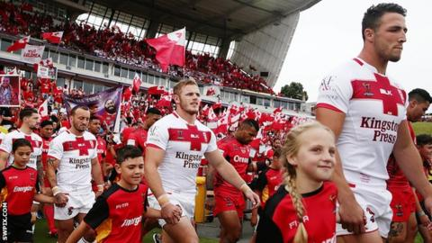 Sam Burgess leads out England team-mates in the Tonga World Cup semi-final last week