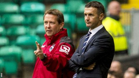 Ross County assistant manager Billy Dodds and manager Jim McIntyre