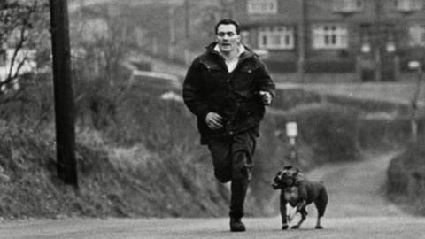 Haydn Morgan on a training run in 1966 with his dog Kim
