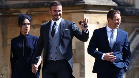 David Beckham and Jonny Wilkinson arrive at Windsor Castle for the Royal Wedding