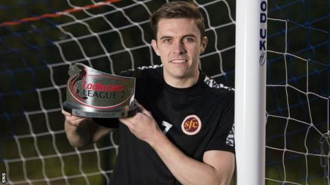 Stenhousemuir striker Mark McGuigan with his League Two player of the month trophy for October