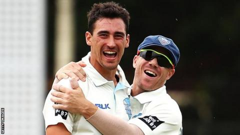 Mitchell Starc and David Warner