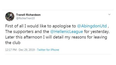 Manager's tweet of apology