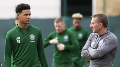 Armstrong Okoflex with Brendan Rodgers at Celtic training