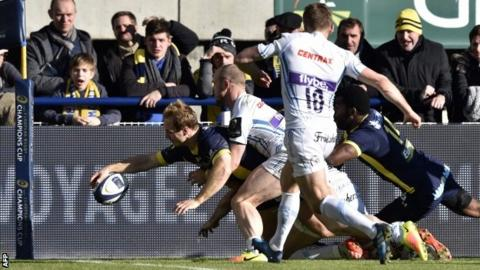 Nick Abedanon goes in at the corner for Clermont