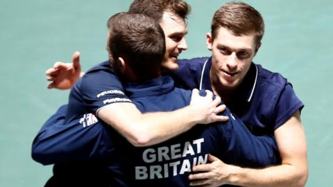 Jamie Murray and Neal Skupski celebrate reaching the Davis Cup quarter-finals