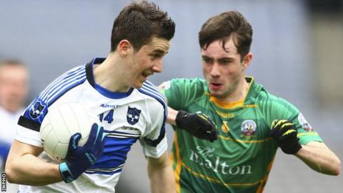 Maghera's Shane McGuigan attempts to burst away from St Brendan's Killarney's Dan O'Brien