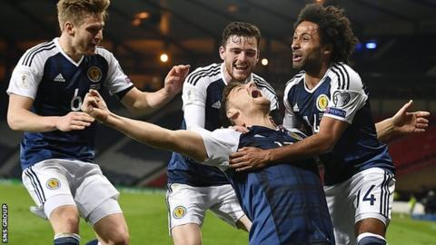 Chris Martin scored a late winner to beat Slovenia at Hampden in March