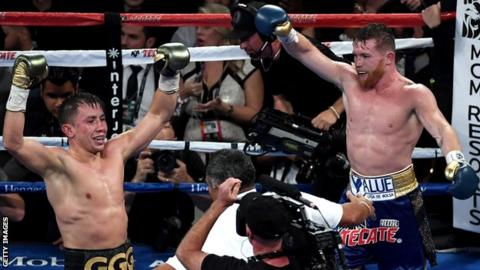 Gennady Golovkin and Saul Alvarez celebrate at the end of their world middleweight title fight in September 2017