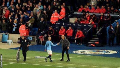 Manchester City's David Silva pictured leaving the pitch
