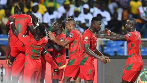 Guinea-Bissau players celebrate after their equaliser