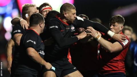Owen Farrell Saracens and Munster players fight