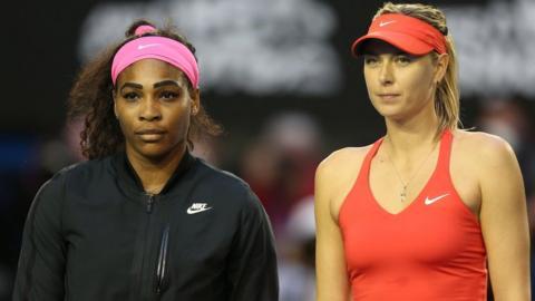 Serena Williams and Maria Sharapova before the 2015 Australian Open final