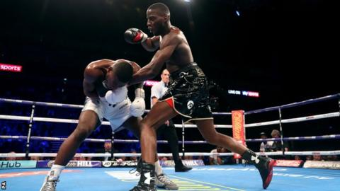 Lawrence Okolie (right) punches Isaac Chamberlain