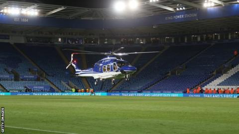 Vichai Srivaddhanaprabha's helicopter taking off from the King Power Stadium