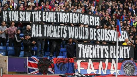 Crystal Palace display their Twenty's Plenty banner at Selhurst Park against West Brom