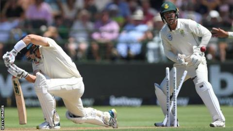England batsman Joe Denly is bowled by South Africa spinner Keshav Maharaj on day one of the second Test against South Africa in Cape Town