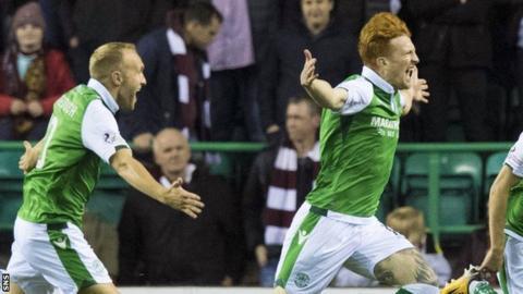 Simon Murray celebrates scoring for Hibernian against Heart of Midlothian