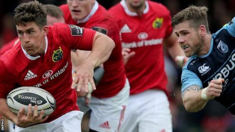 Ian Keatley scores a try for Munster against Cardiff