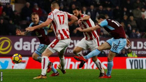 Burnley into Champions League places with win over Stoke