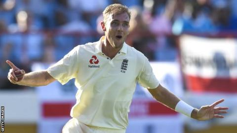Stuart Broad celebrates taking a wicket for England against the West Indies
