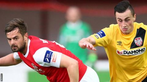 Greg Bolger of St Patrick's Athletic in action against Derry's Aaron McEneff