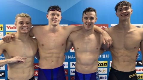 Robbie Powell, Brendan Hyland, Jordan Sloan and Jack McMillan are all smiles after the record-breaking relay
