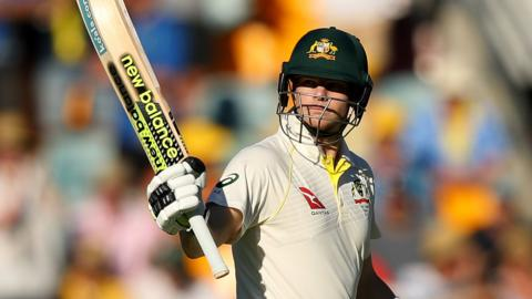 Australia captain Steve Smith celebrates his fifty