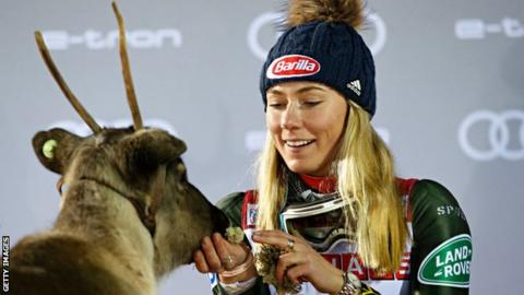 Mikaela Shiffrin and a reindeer