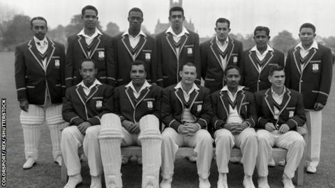 Andy Ganteaume and West Indies team-mates in 1957