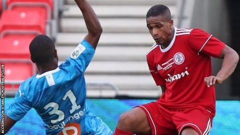 Wilson Carvalho playing for Accrington Stanley