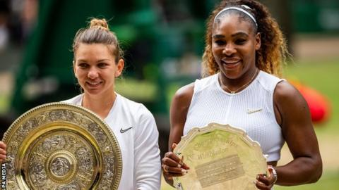 Serena Williams and Simona Halep pose with trophies after Wimbledon final