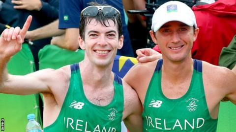 Paul Pollock and Kevin Seaward after completing the Olympic marathon in 2016