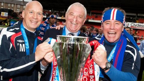 Rangers manager Walter Smith and assistants Kenny McDowall and Ally McCoist celebrate winning the Scottish Premier League title in May 2009