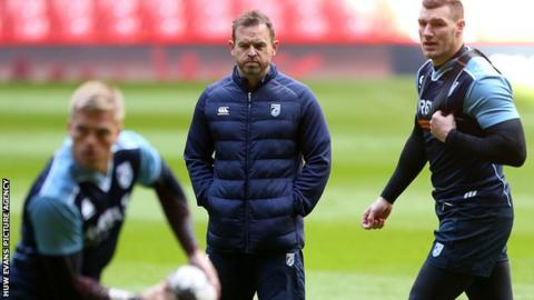 Danny Wilson watches Cardiff Blues players go through their paces in training